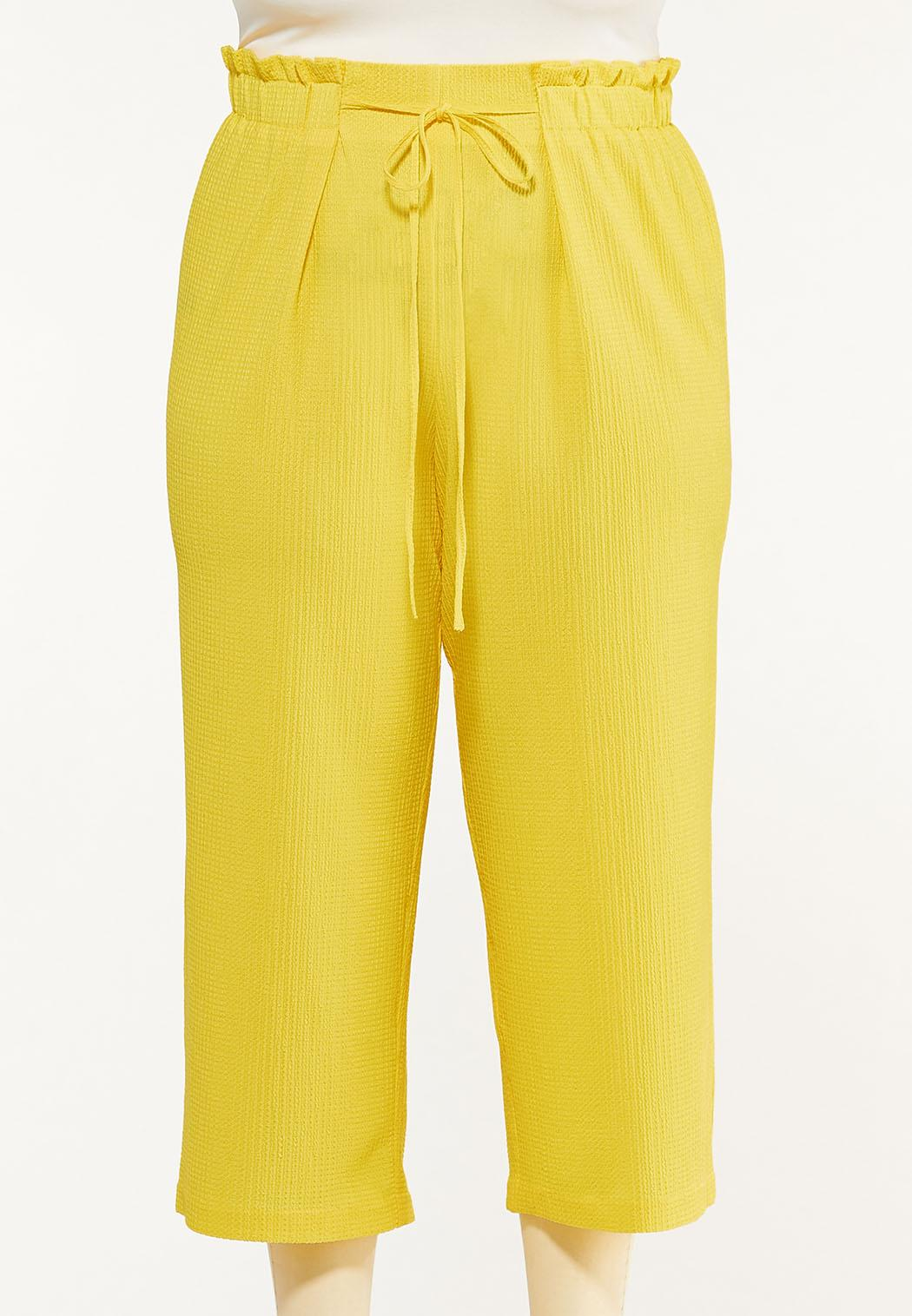 Plus Size Cropped Solid Textured Pants