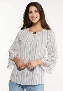 Plus Size Stripe Ruched Sleeve Top