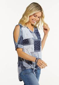 Blue Patchwork Top