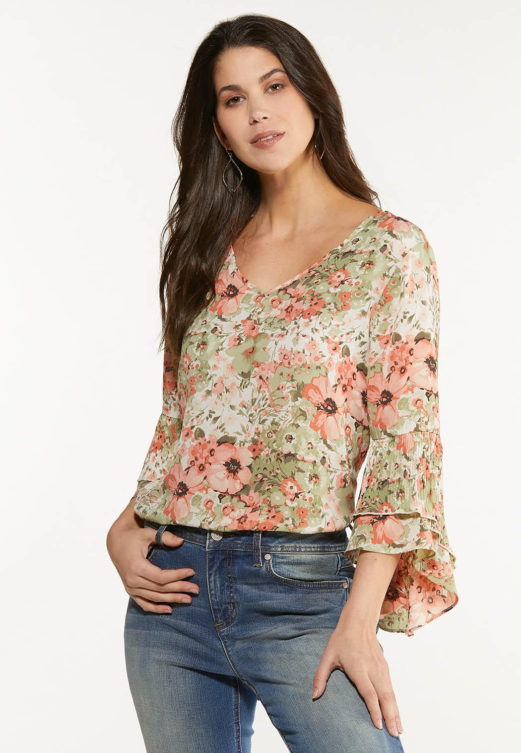 Plus Size Floral Ruffle Sleeve Top
