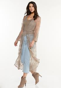 Plus Size Tan Lace Kimono