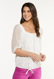 Plus Size Crochet Tie Waist Top