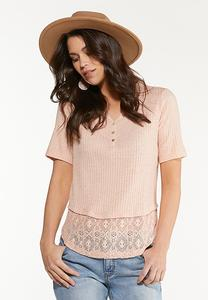 Lace Trim Henley