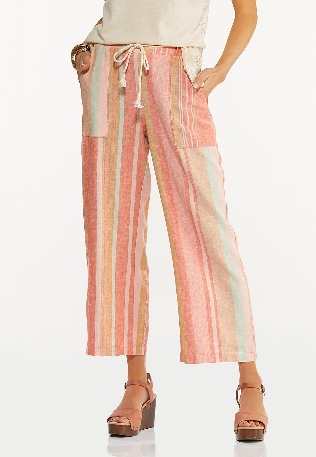 Coral Stripe Linen Cropped Pants