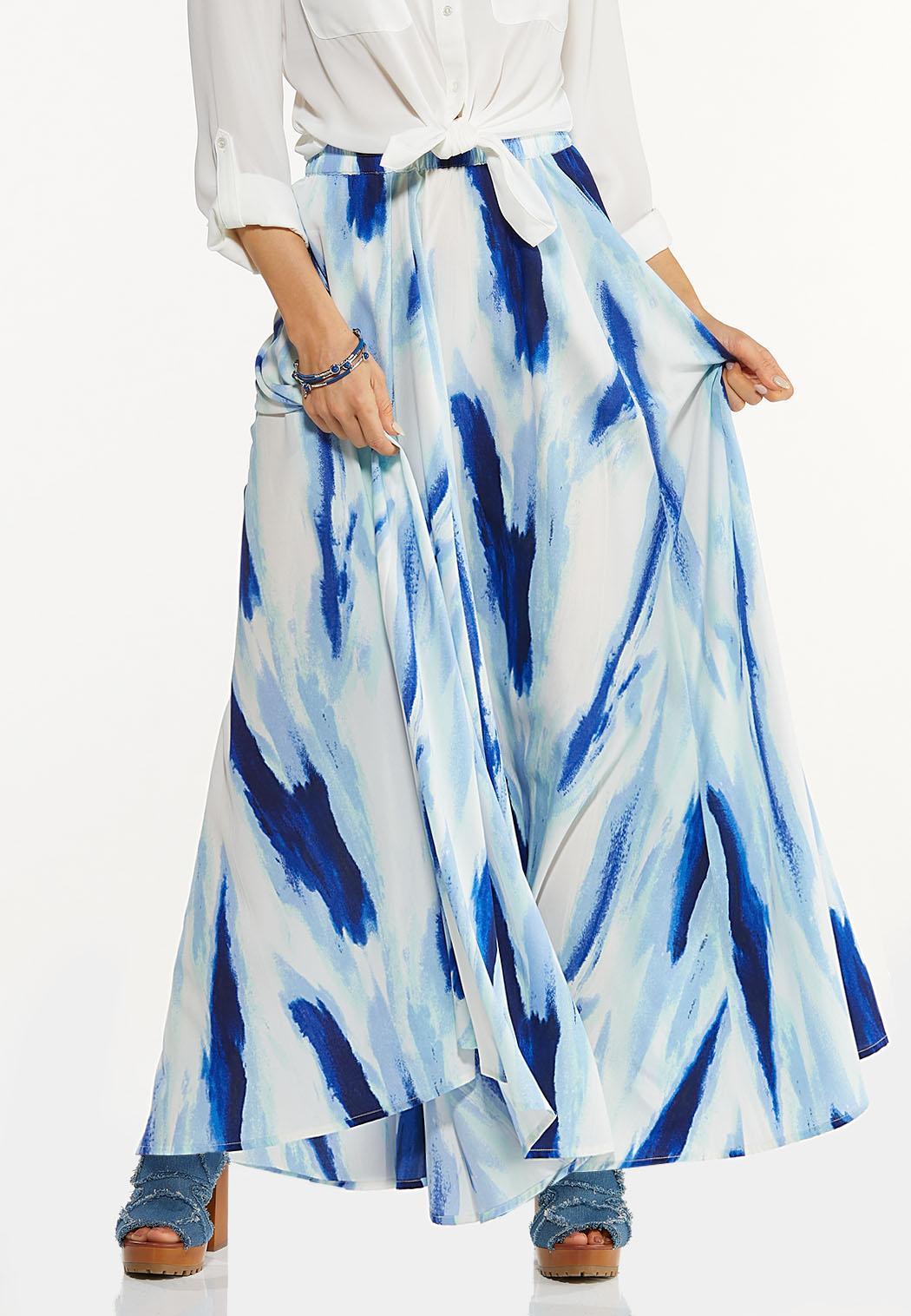Plus Size Tie Dye Maxi Skirt