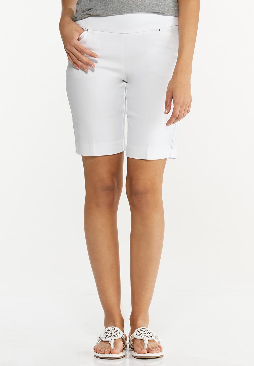 Solid Bengaline Bermuda Shorts