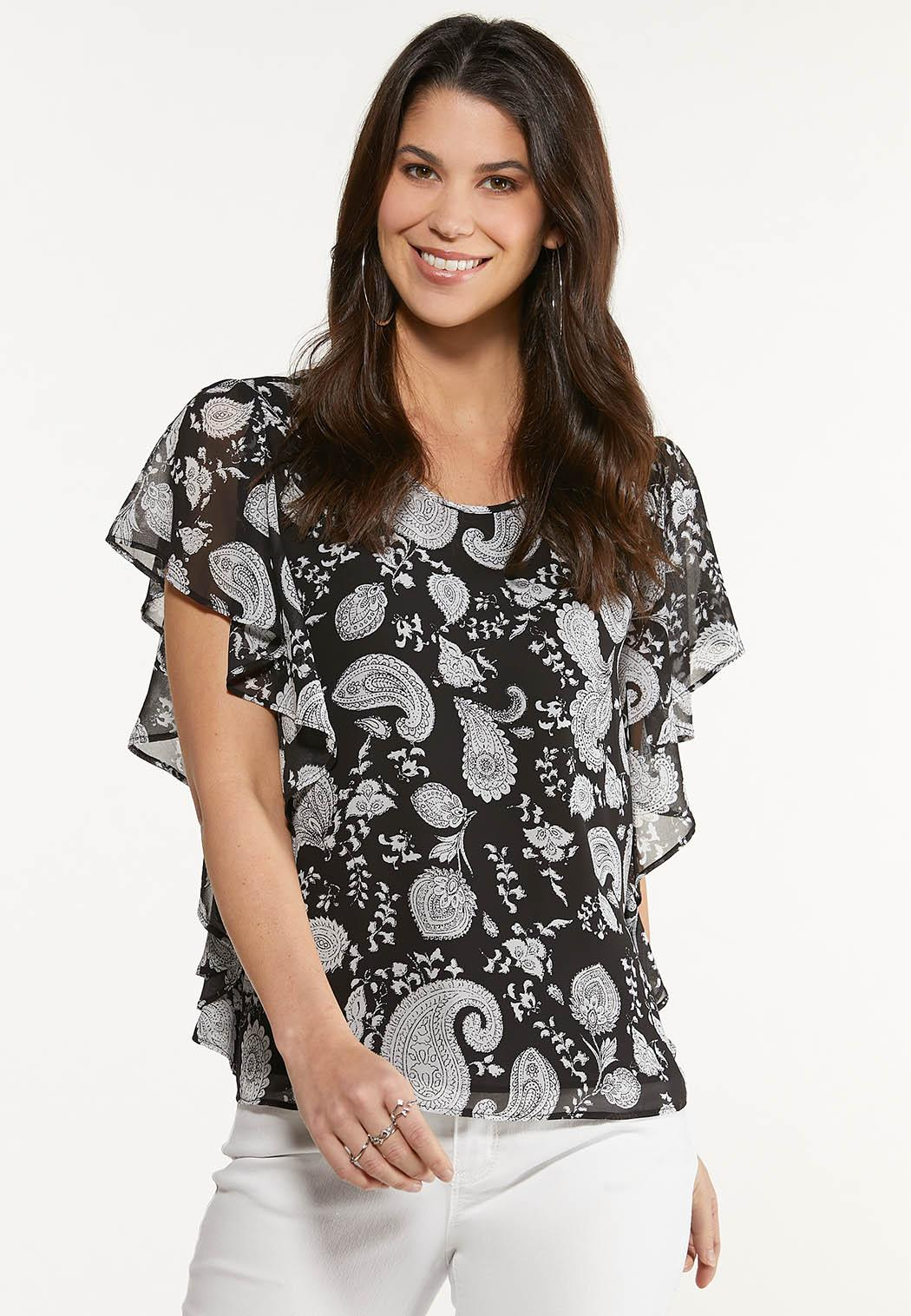Ruffled Contrast Paisley Top