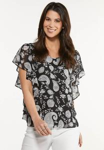Plus Size Ruffled Contrast Paisley Top