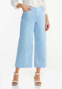 Solid Cropped Wide Leg Pants
