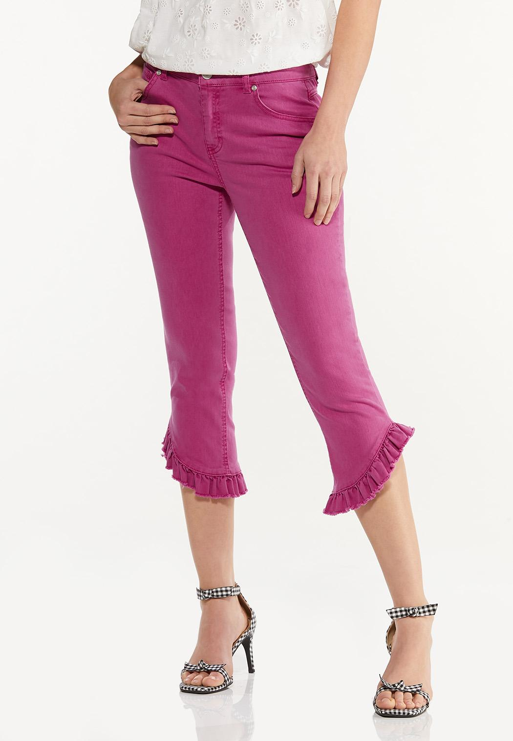 Cropped Colored Ruffled Jeans
