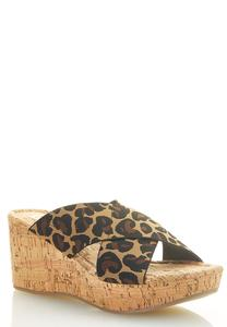 Leopard Crossband Cork Wedges