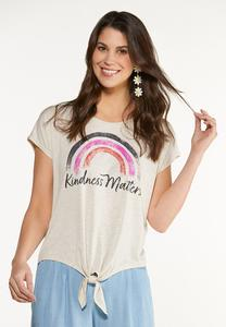 Plus Size Kindness Matters Rainbow Tee