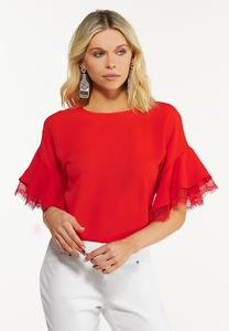 Plus Size Lacy Flounced Sleeve Top