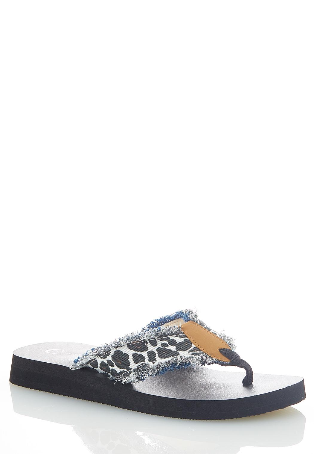 Leopard Denim Flip Flops