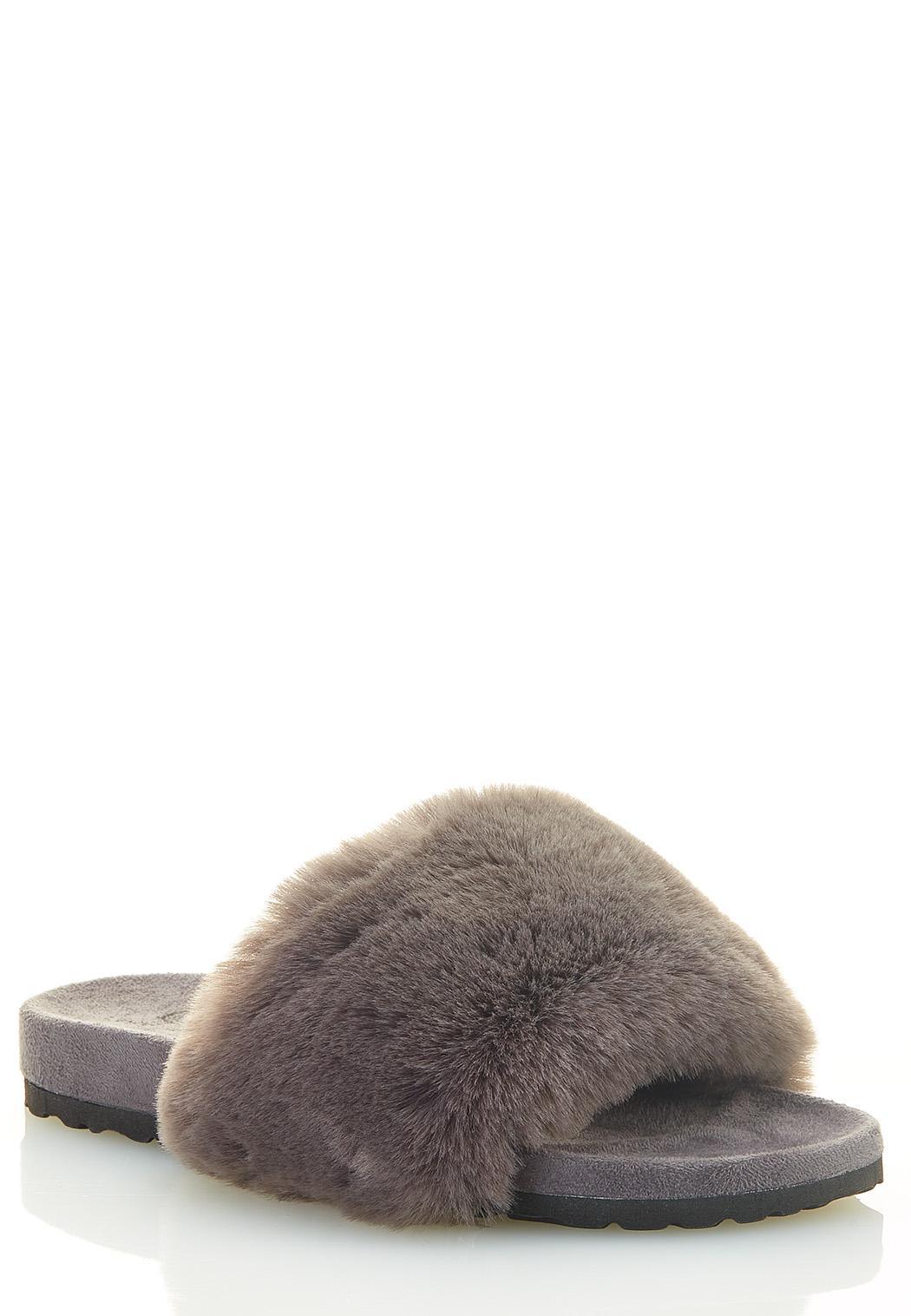 Fur Band Slide Sandals