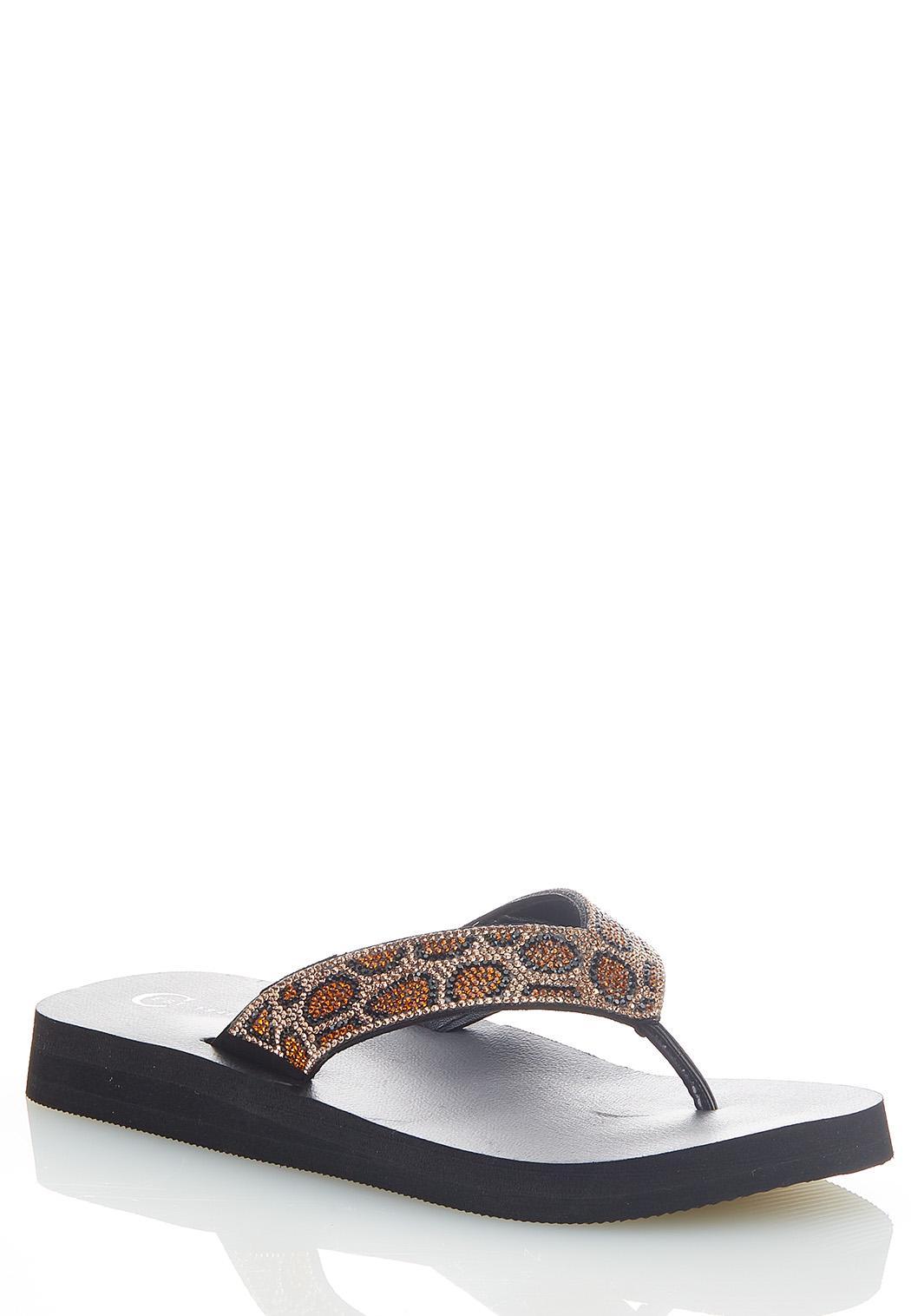 Leopard Rhinestone Flip Flops