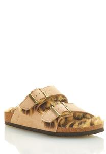 Fur Lined Buckle Footbed Sandals