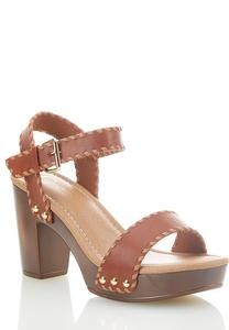 One Band Whipstitch Heeled Sandals