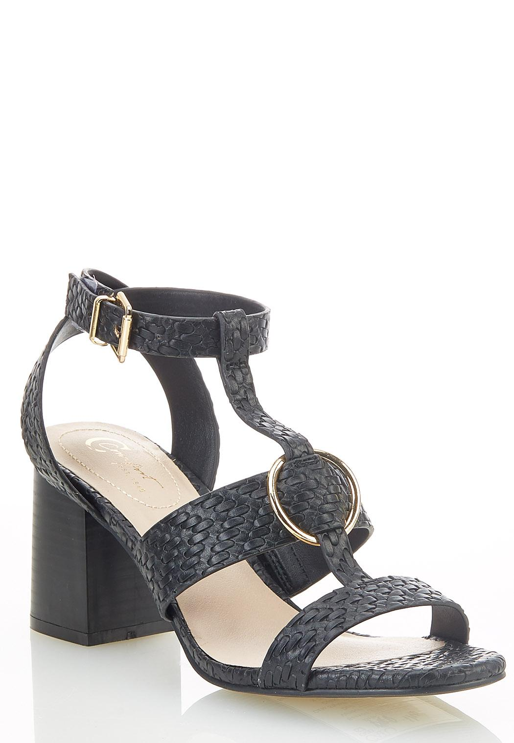 Woven T-Strap Heeled Sandals