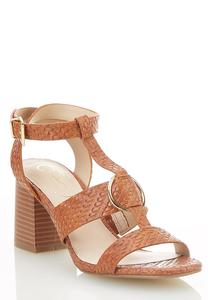 Wide Width Woven T-Strap Heeled Sandals
