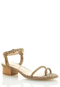 Wide Width Cheetah Toe Loop Sandals