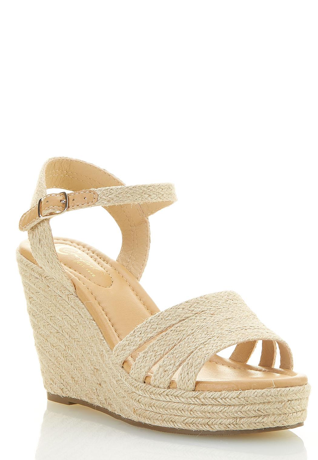 Wide Width Natural Woven Wedges
