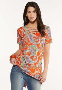 Plus Size Orange Paisley Tunic