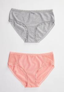 Plus Size Heart Trim Hipster Panty Set