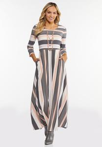 Plus Size Mixed Stripe Maxi Dress