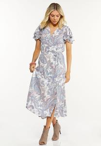 Paisley Flutter Sleeve Dress