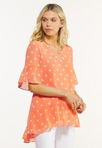 Plus Size Sweet Ruffled Dot Top