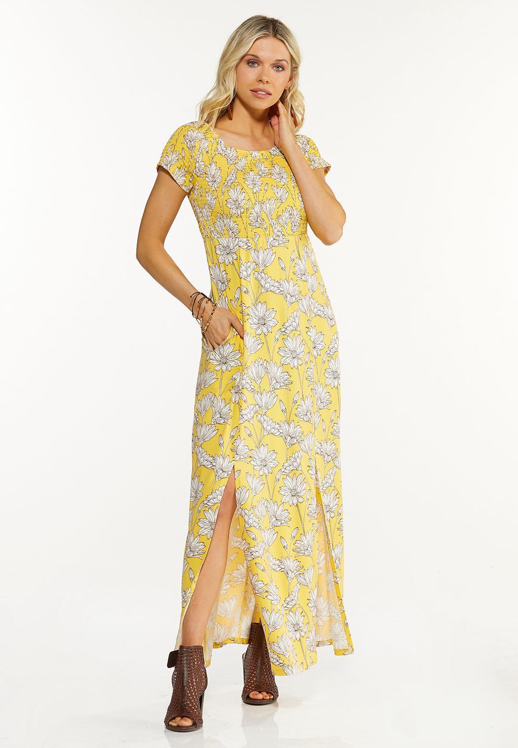 Petite Smocked Daisy Maxi Dress
