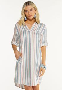 Plus Size Muted Stripe Linen Dress