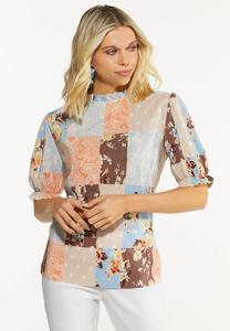 Pleated Patchwork Top