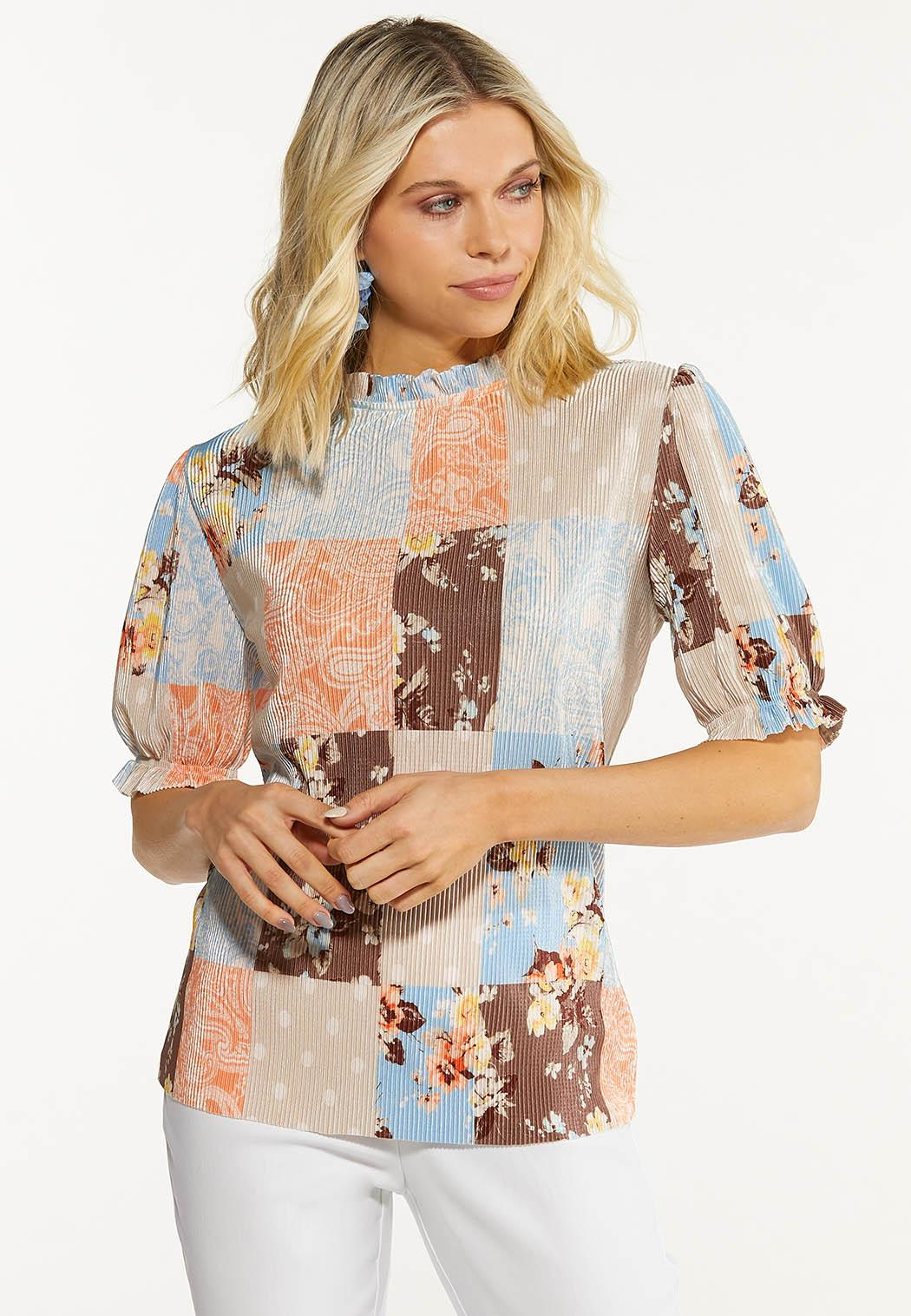 Plus Size Pleated Patchwork Top