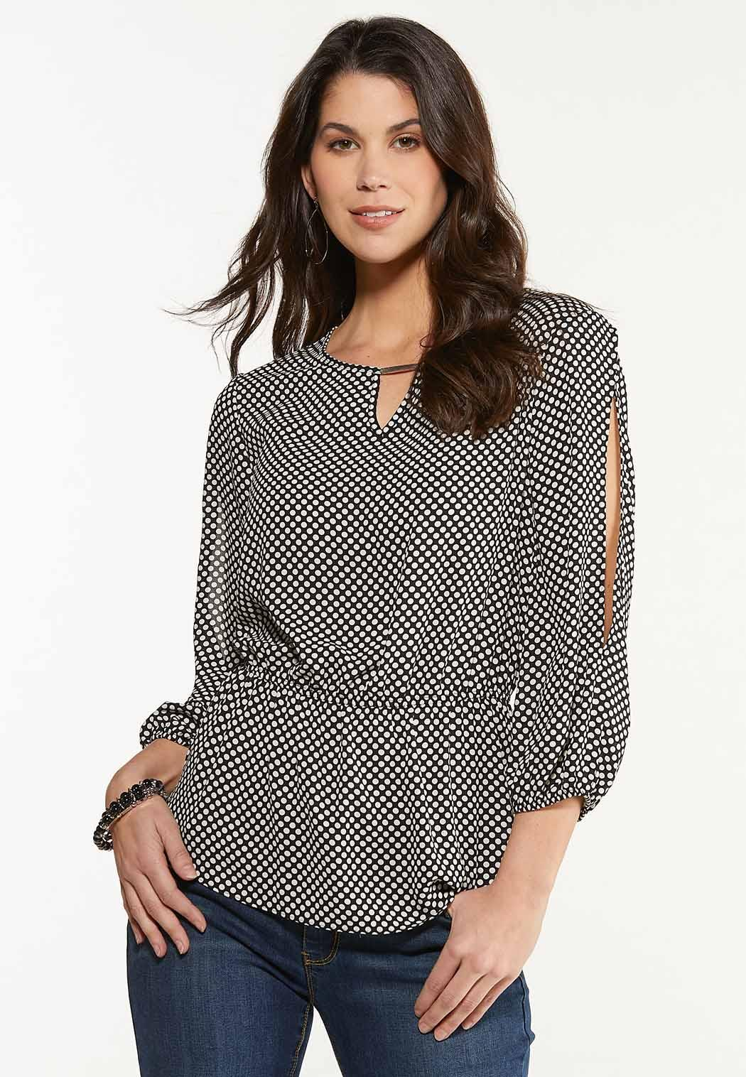 Dotted Split Sleeve Top