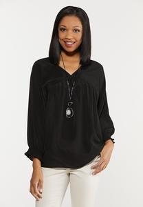 Plus Size Smocked Sleeve Top