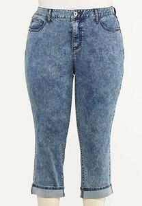 Plus Size Cropped Vintage Wash Skinny Jeans