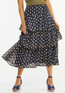 Ruffled Floral Midi Skirt