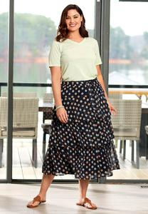 Plus Size Ruffled Floral Midi Skirt