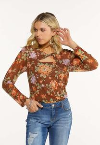 Plus Size Mesh Twisted Floral Top