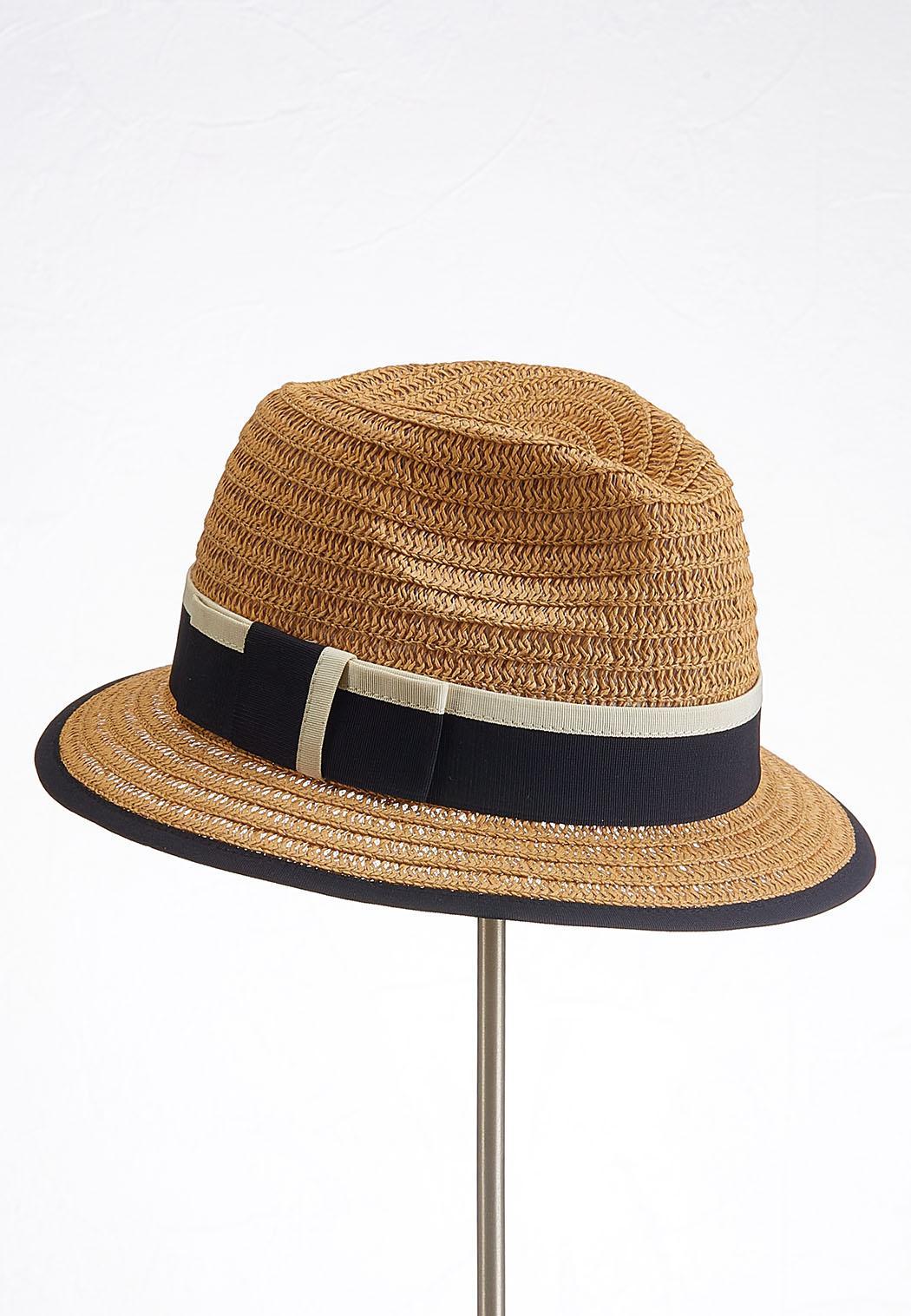 Colorblock Band Straw Fedora Hat