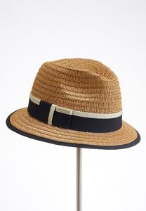 Colorblock Band Straw Fedora Hat