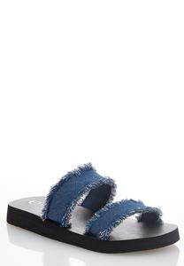Frayed Denim Band Sandals