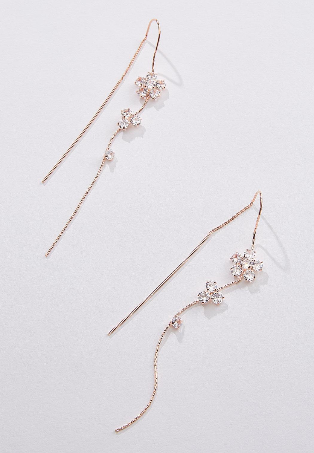 Rhinestone Flower Chain Earrings