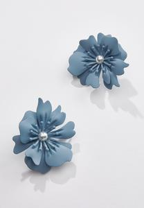 Matte Enamel Flower Clip-On Earrings