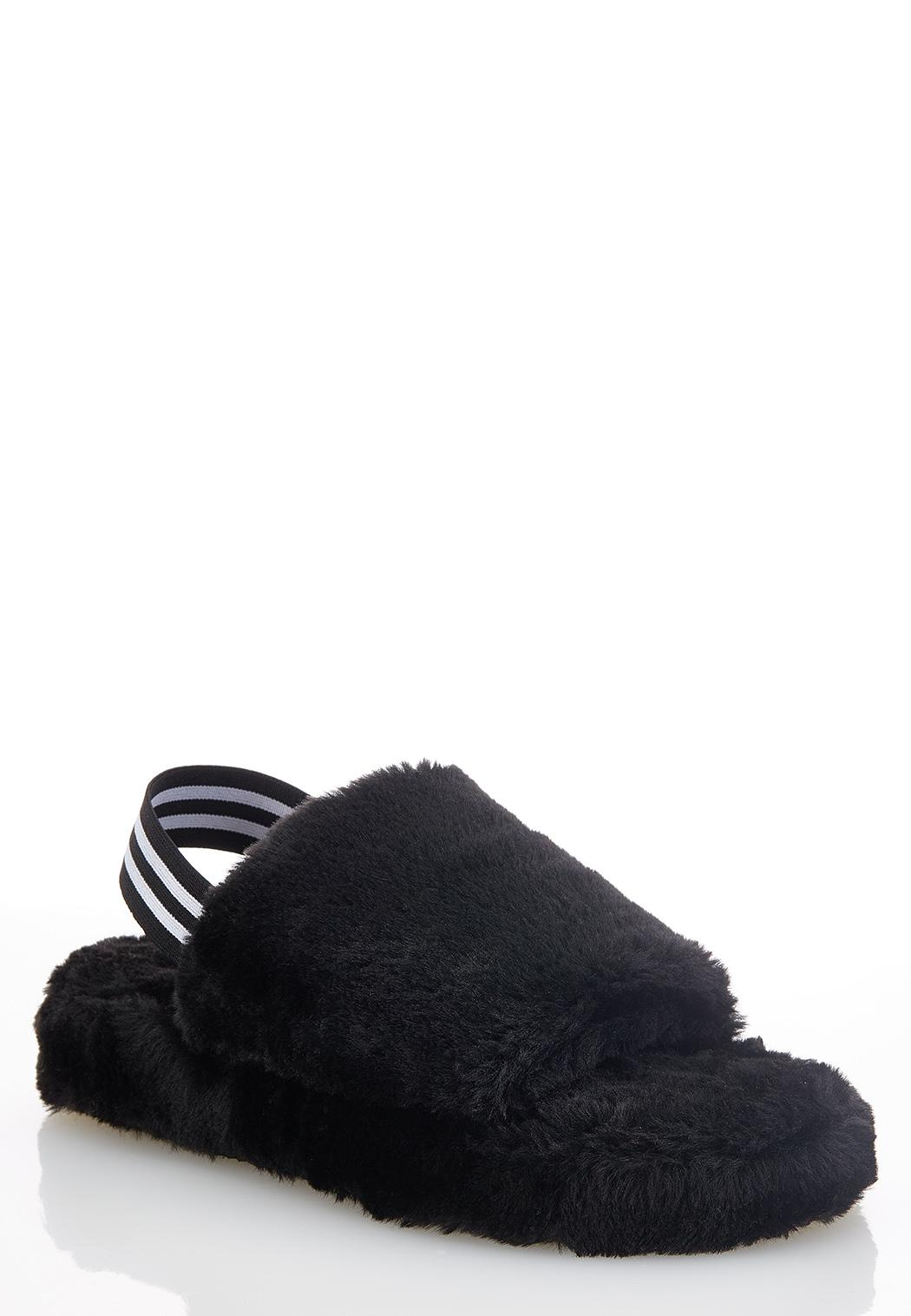 Faux Fur Slingback Platform Sandals