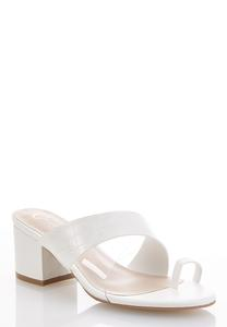 White Toe Loop Heeled Sandals