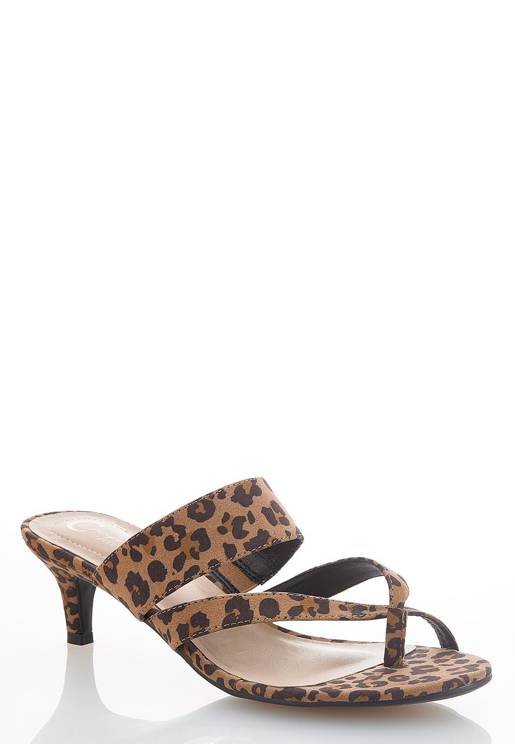 Leopard Low Heel Sandals
