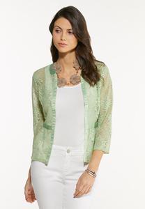 Plus Size Peplum Lace Cardigan
